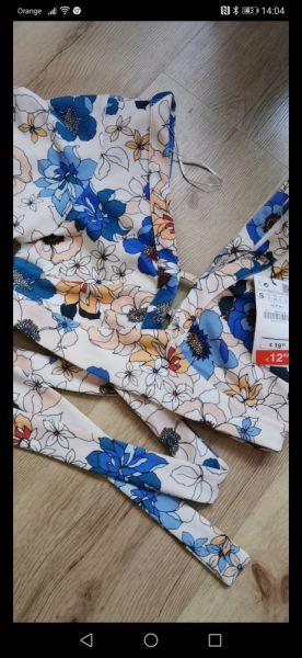 Bluzki Crop Top kwiaty zara