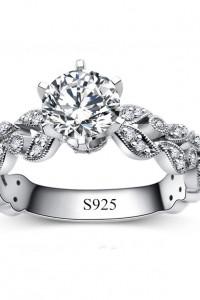 Nowy pierścionek srebrny kolor białe cyrkonie duży królewski po...
