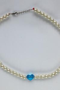 Naszyjnik z perełkami i sercem niebieskie diy handmade tanio...