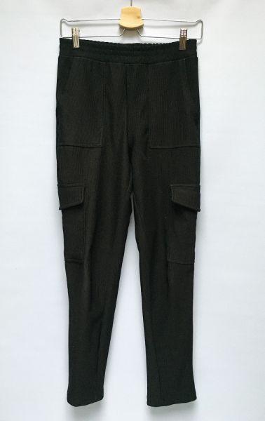 Spodnie Spodnie Czarne Prążkowane Bojówki Gina Tricot S 36 Rurki
