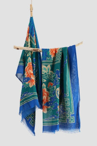 Nowy lekki szal tkany z wełną orientalny niebieski granatowy kw...
