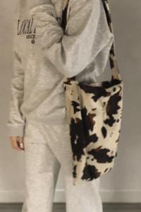 Torba torebka na ramię tote bag futrzana futrzasta vintage krow...