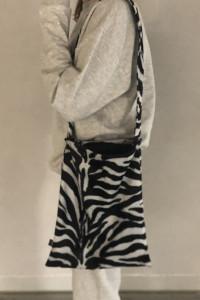 Torba torebka na ramię tote bag futrzana futrzasta vintage zebr...