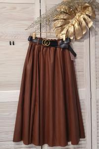 Włoska spódnica z ecoskórki w kolorze koniaku...