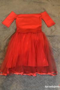 Czerwona sukienka rozkloszowana tiulowa Tenezito...