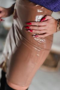 Piękna spódnica lateksowa czarna i camel PRODUKT POLSKI...
