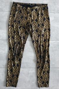 Czarne legginsy złote wzory M...