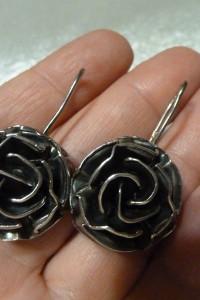 kolczyki róże srebro