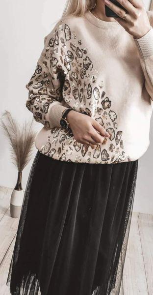 Swetry Sweter cekinowa panterka