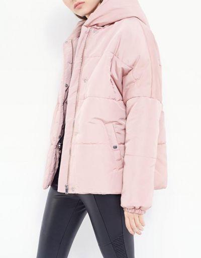 Odzież wierzchnia kurtka ciepła pudrowo różowa puchowa parka