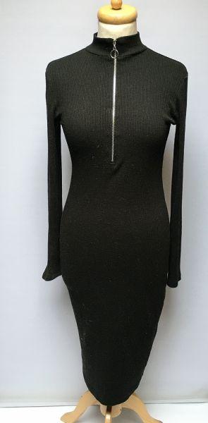 Suknie i sukienki Sukienka Czarna Ołowkowa Bik Bok M 38 Prążkowana Prążki