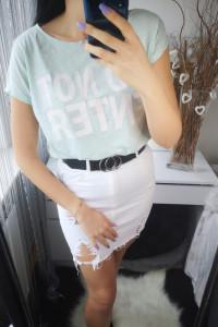 Reserved Bluzka Tshirt damski oversize miętowa L