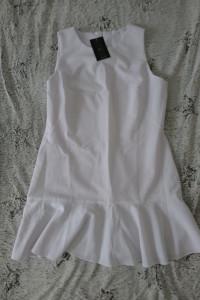 Sukienka ECRU z falbanką mini M L