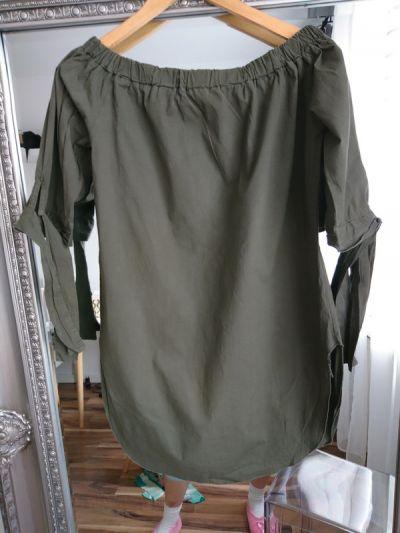 Tuniki Bluzka tunika khaki bawełna z rozcięciem jak nowa wiązane rękawy