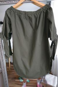 Bluzka tunika khaki bawełna z rozcięciem jak nowa wiązane rękawy
