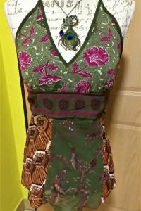 Bluzeczka letnia na ramiączkach VERO moda r S zielono brązowa w kwiaty