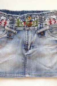 Dżinsowa denim spódniczka spódnica haft wzór mini XS 34 S 36 26 tania legginsów
