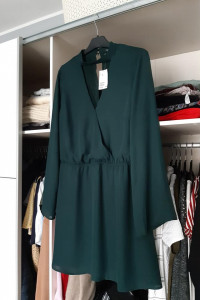 H&M nowa Kopertowa sukienka w serek z choker butelkowa zieleń...