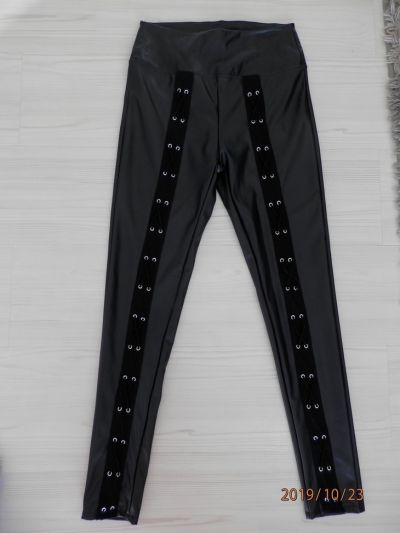 Spodnie Spodnie Skórzane Legginsy Rurki Czarne by UK 34