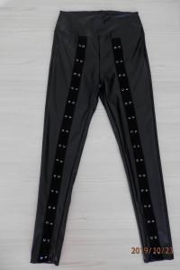 Spodnie Skórzane Legginsy Rurki Czarne by UK 34...
