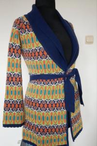 Kardigan wzorzysty sweter rozpinany wełna jagnięca