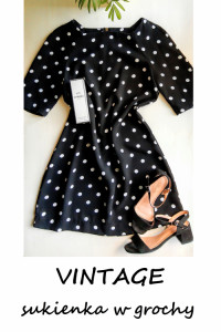 Sukienka w grochy vintage retro pin up M L...