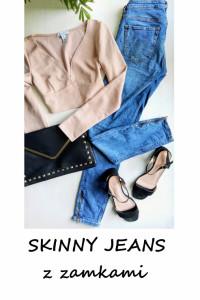 Skinny jeans z zamkami 36 38 bawełna...