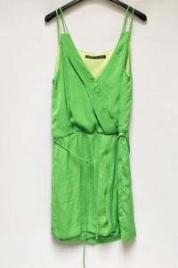 Sukienka Zielona Zara Basic XS 34 Kopertowa Zieleń...