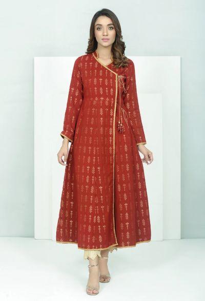 Tuniki Nowa indyjska tunika sukienka narzutka M 38 L 40 czerwona złota bawełniana kurta kameez angrakha