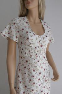 Sukienka retro kwiaty guziki 36 S długa Vintage...