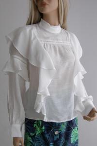 Bluzka biała L koszula haft falbanka bufki motyl...