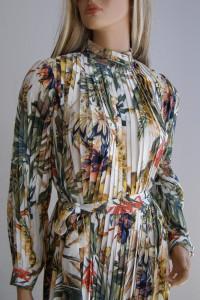 Suknia wesele sylwester długa 36 plisowana kwiaty...