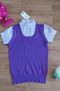 Dzianinowa fioletowa koszulka damska 36 S...