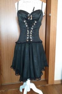 Koronkowa rozkloszowana asymetryczna sukienka z gorsetem Societ...