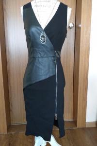 MOHITO sukienka suknia czarna Ramoneska zamek eko skóra...