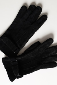 Rękawiczki zamszowe skórzane z paskiem