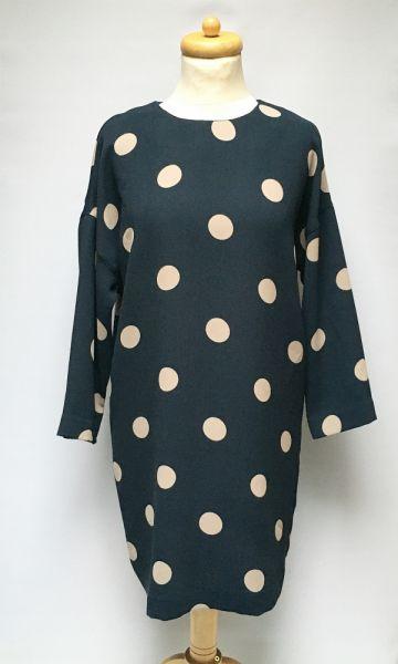 Suknie i sukienki Sukienka Granatowa Kropki Groszki Lindex S 36 Elegancka
