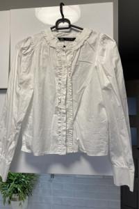 Zara biała koszula falbanki...