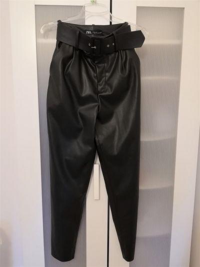 Spodnie Czarne spodnie ekoskóra Zara wysoki stan