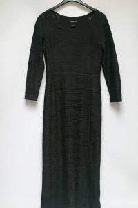 Sukienka Czarna Long Ołówkowa Monki Prążkowana XS 34...