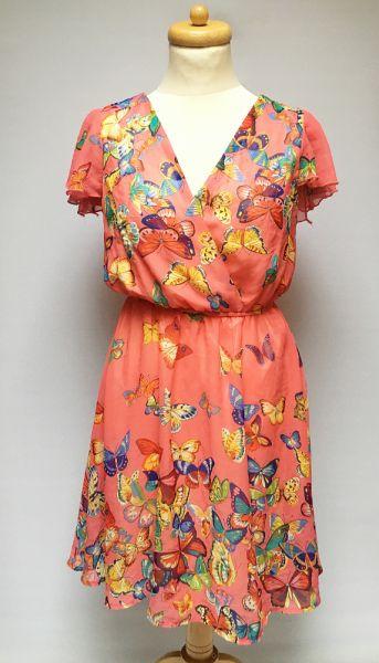 Suknie i sukienki Sukienka L 40 Nowa Motyle Kopertowa Rozkloszowana Różowa