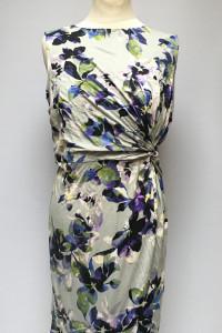 Sukienka NOWA Kwiaty Marszczona XL 42 Yumi Direct Szara...