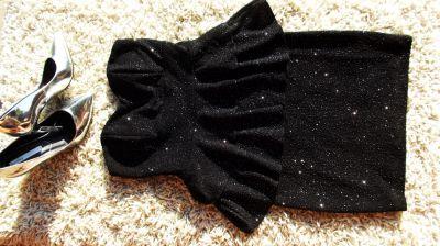 Suknie i sukienki Sukienka Vintage mała czarna posrebrzana S36