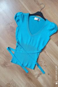 Bluzka sweterek sweter krótki rękaw niebieski S M...