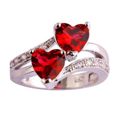 Pierścionki Nowy pierścionek srebrny kolor czerwone cyrkonie serca serduszka