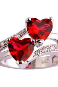Nowy pierścionek srebrny kolor czerwone cyrkonie serca serduszk...