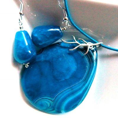 Komplety Niebieski agat w srebrze wisiorek i kolczyki zestaw