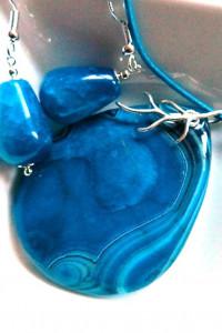 Niebieski agat w srebrze wisiorek i kolczyki zestaw...