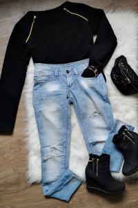 zestaw botki Oleksy jeansy bluza nerka Pafois Mohito...