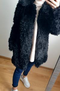 Czarne futerko H&M futro płaszcz rozmiar XS